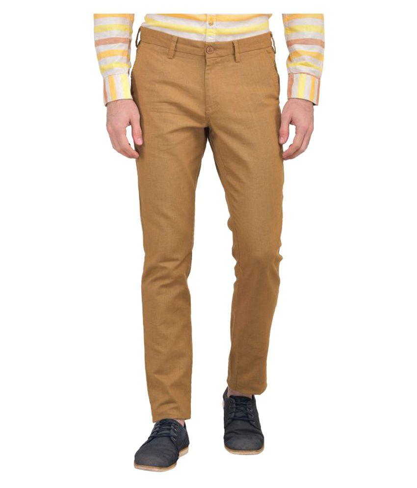 Urbantouch Yellow Regular Flat Trousers