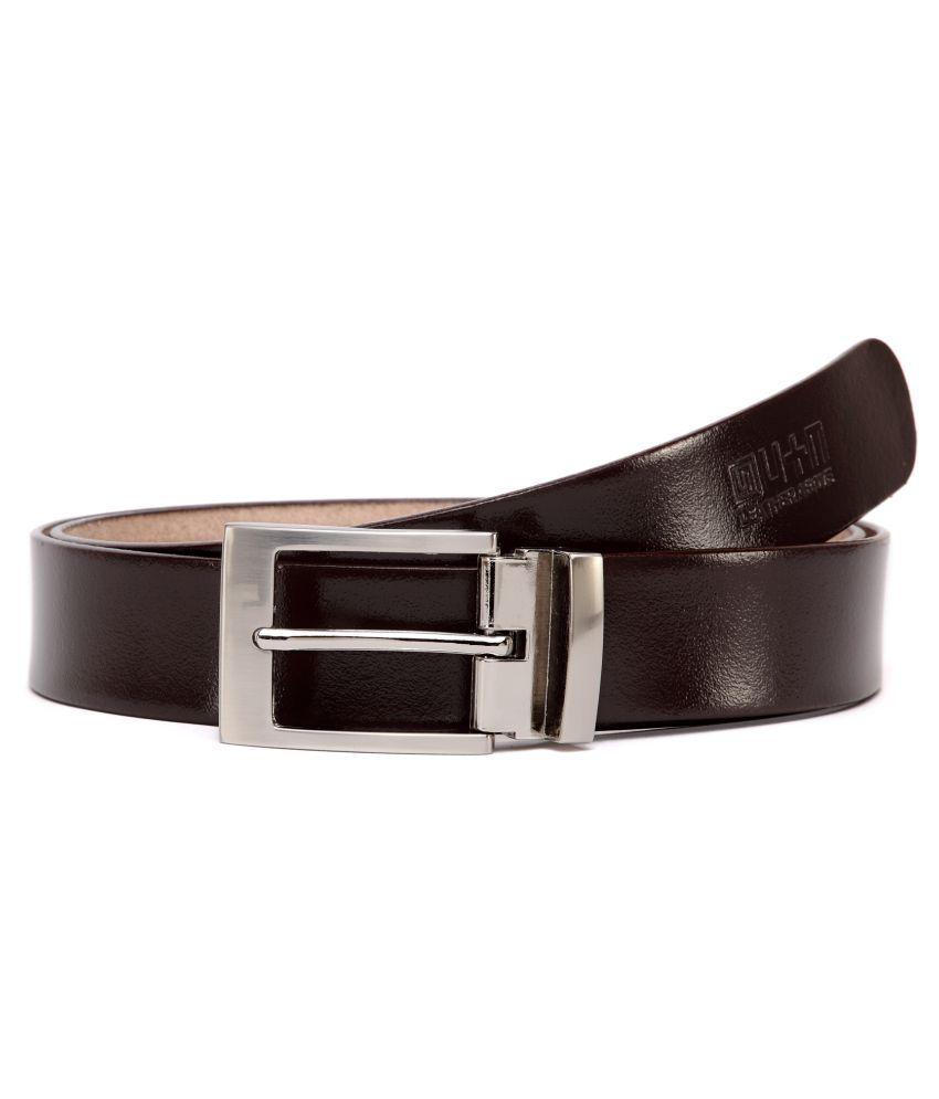 U+N Brown Leather Formal Belts