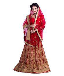 Siddeshwary Fab Red Net Circular Semi Stitched Lehenga