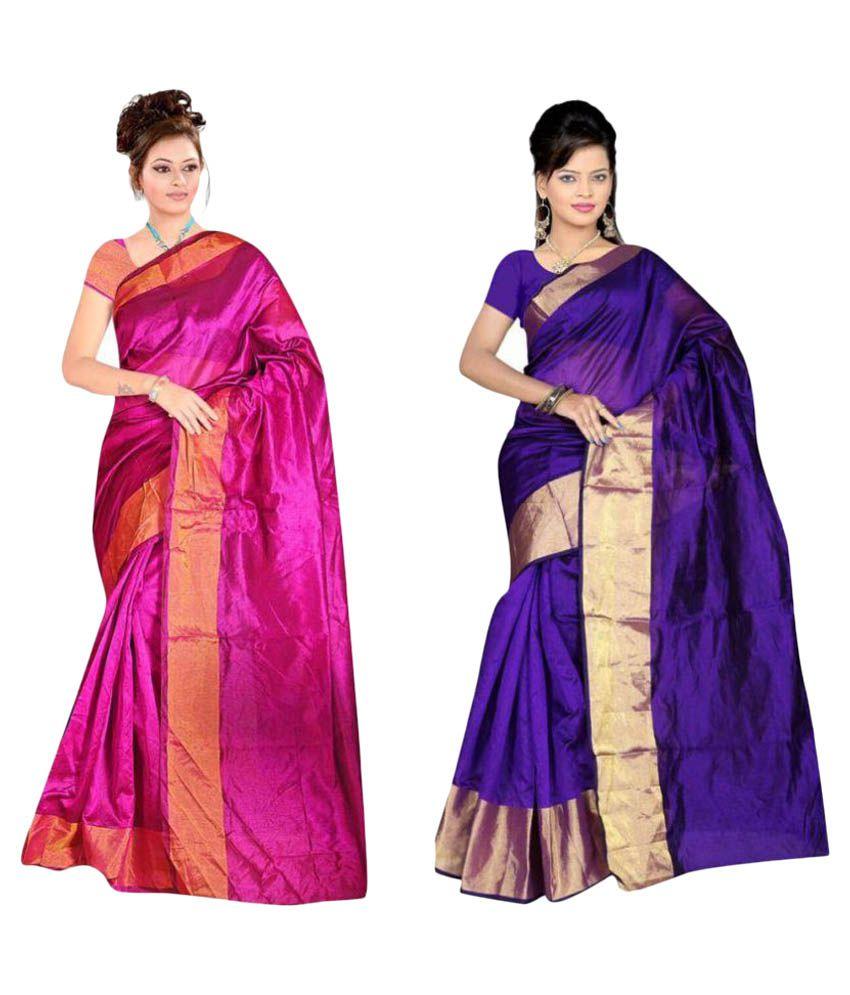 Gazal Fashions Multicoloured Cotton Silk Saree Combos