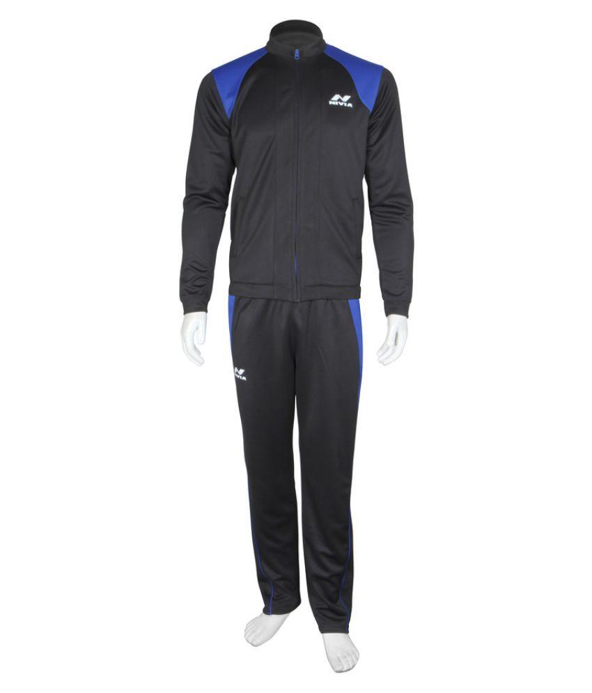 Nivia Dura Knit Tracksuit (Black / Navy Blue)