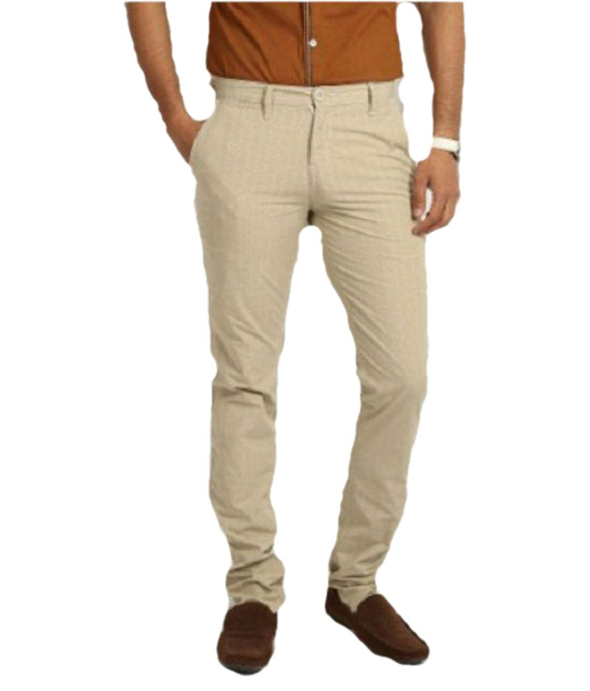 Ferrous Jeans Beige Slim Flat Chinos