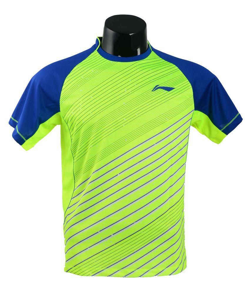 Li-Ning Green Polyester T-Shirt