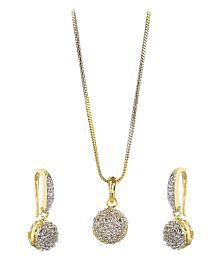 Zeneme American Diamond Gold Plated Pendant Set With Earrings For Girls / Women