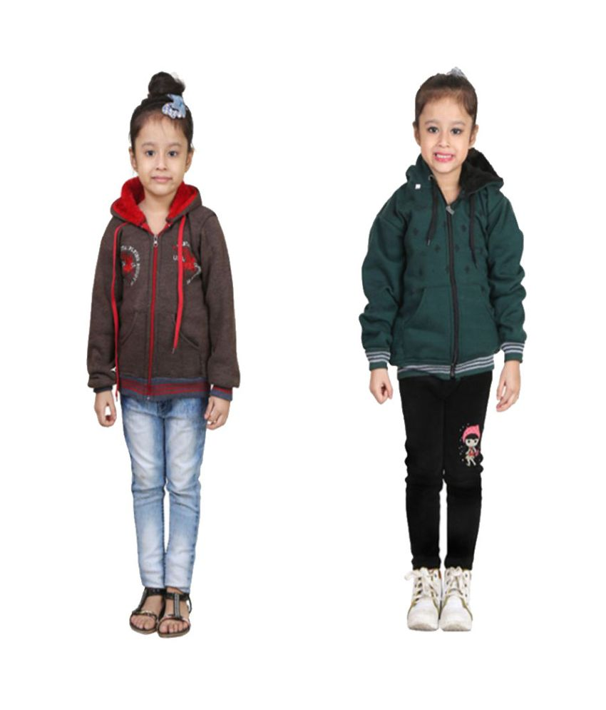 Qeboo Multicolour Fleece Sweatshirt - Pack of 2