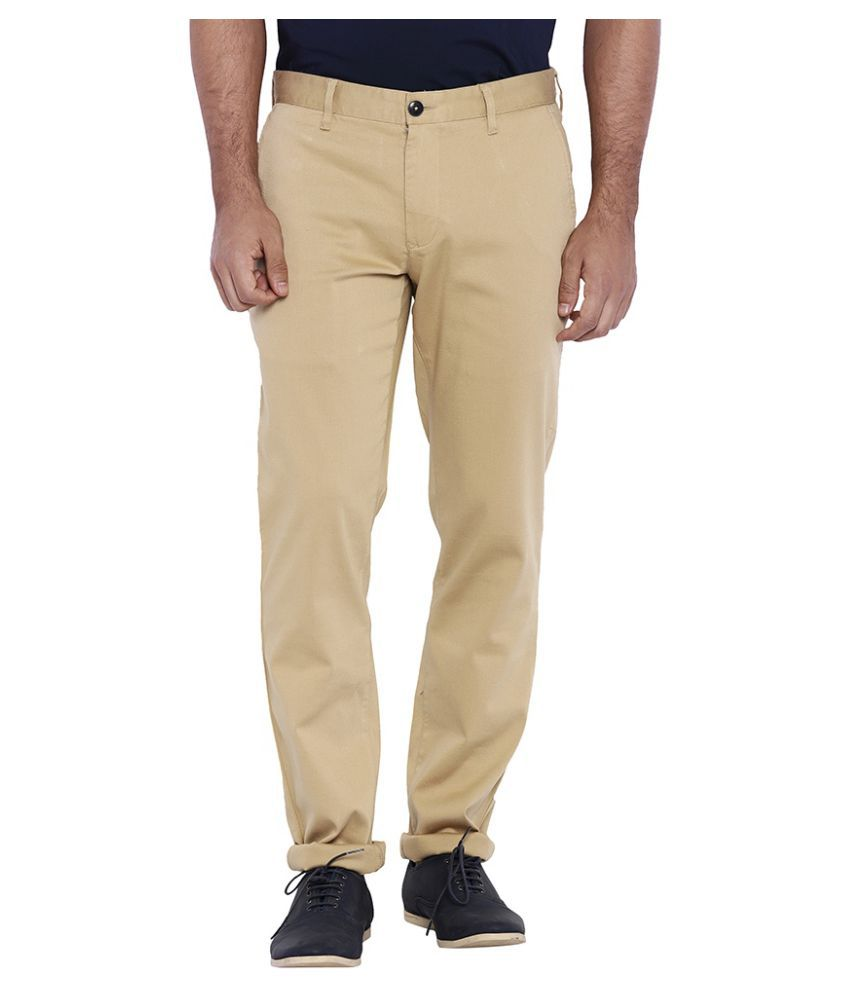 Colorplus Beige Regular Flat Chinos