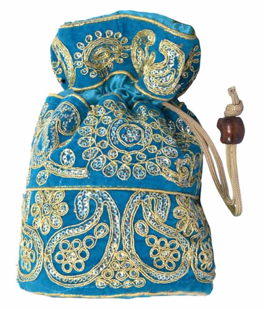 Craft Trade Blue Silk Potli
