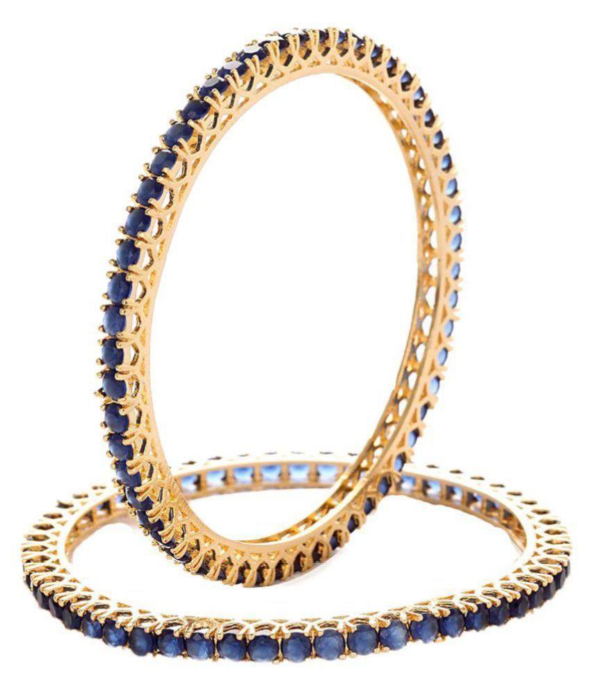 Jewels Gold American Diamond Gold Plated Bangle Set of 2