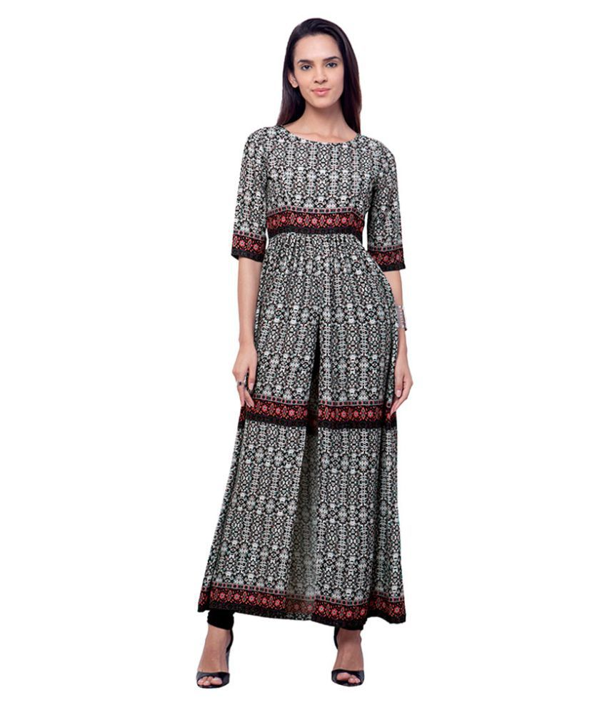 Faballey Indya Multicoloured Cotton Front Slit Kurti