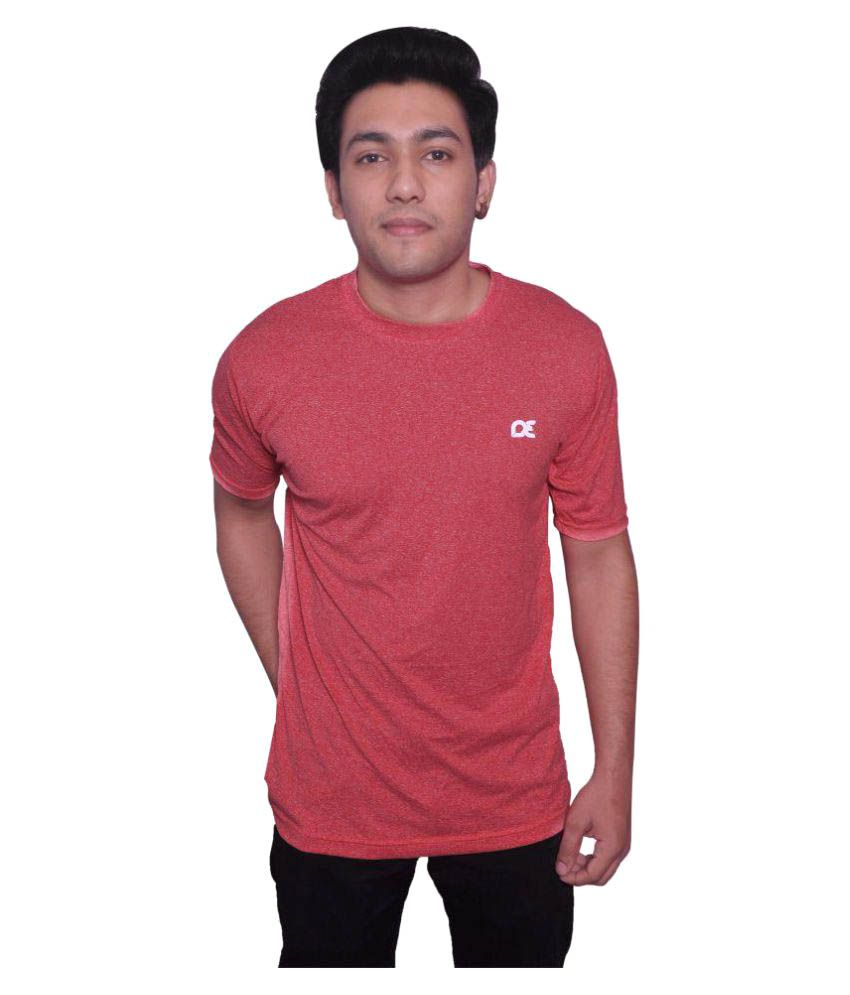 Dyed Colours Red Polyester T Shirt