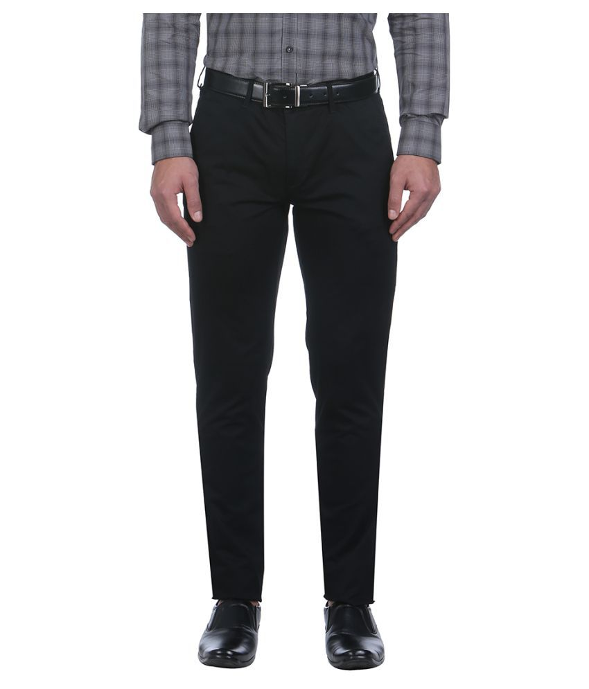 Colorplus Black Regular Flat Trousers