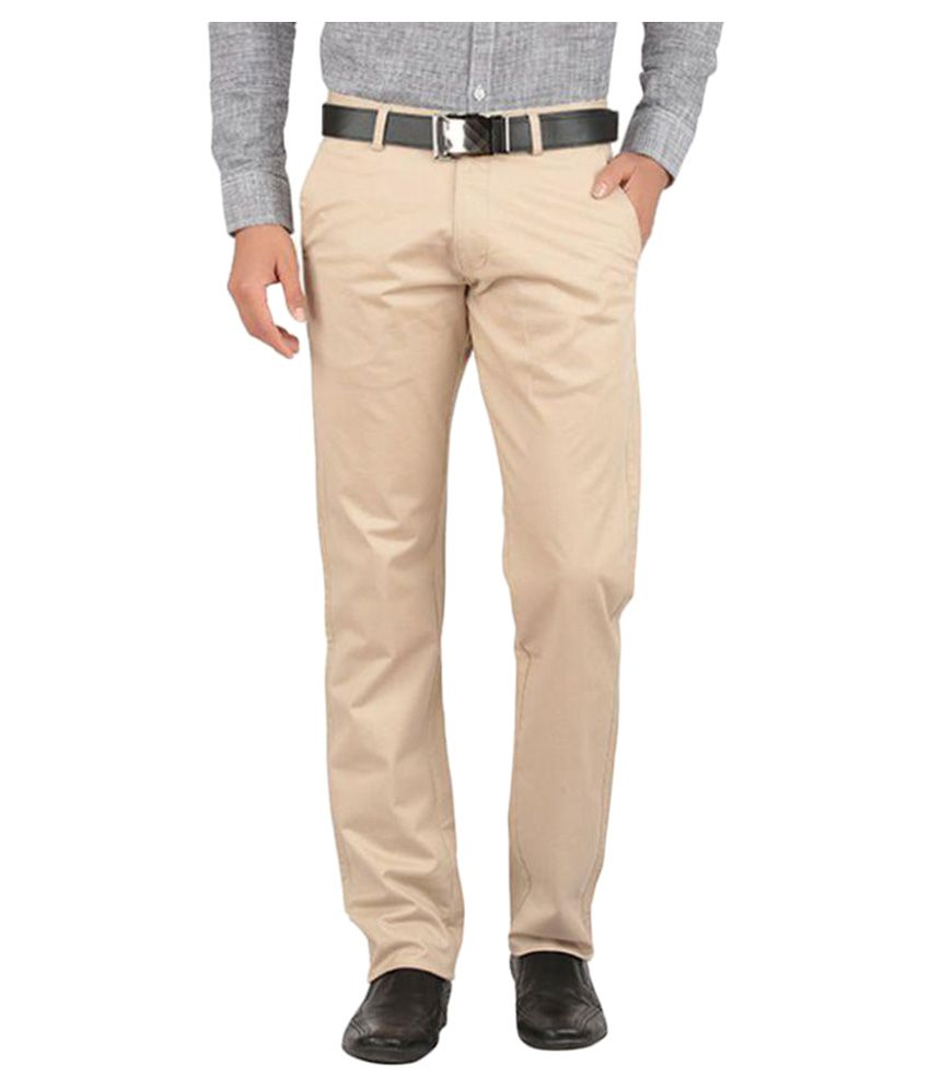 Tibre Beige Regular Flat Trousers