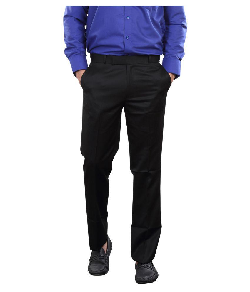 Audacity Black Slim Flat Trousers