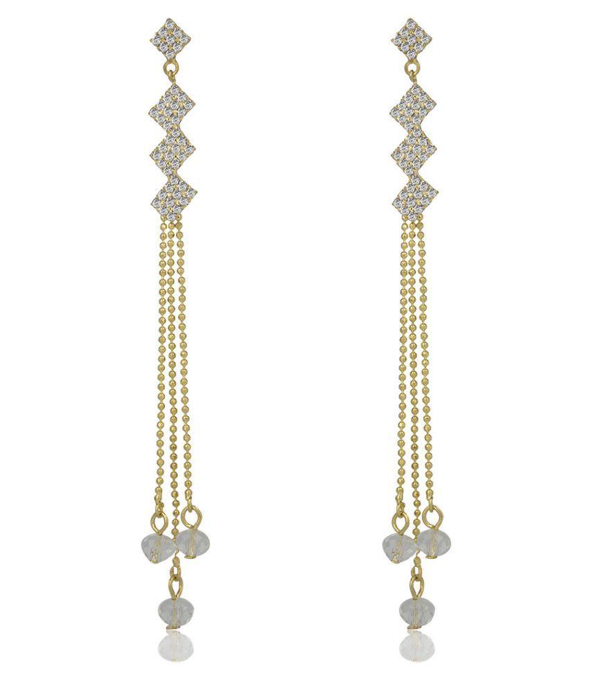 Naveli Designer Gold Plated Hanging Earrings For Women