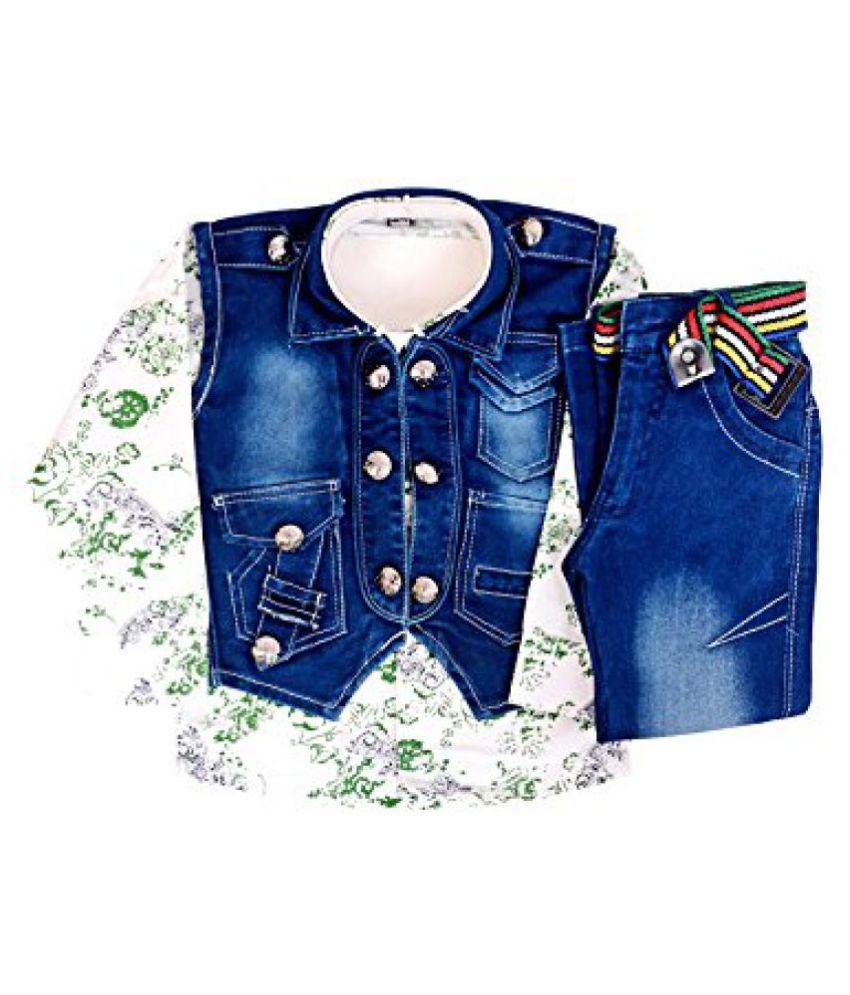 Arshia Fashions Boys Shirt,Waistcoat and Demin Set