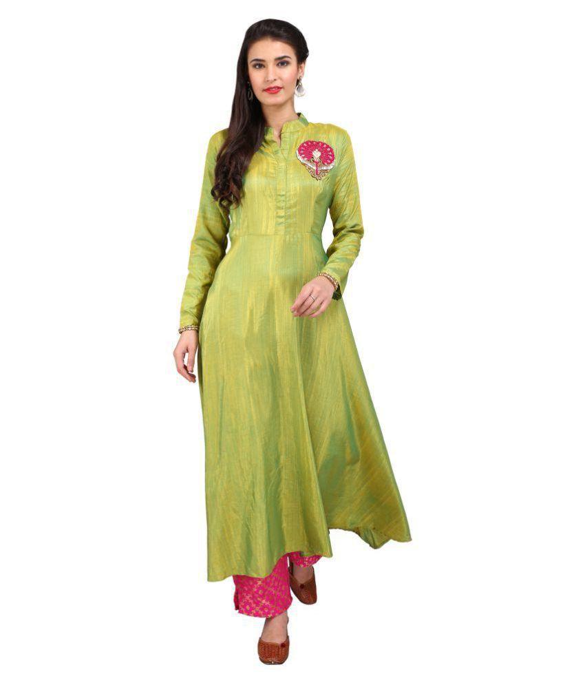 Admire Designer Studio Green and Yellow Silk A-line Semi-Stitched Suit