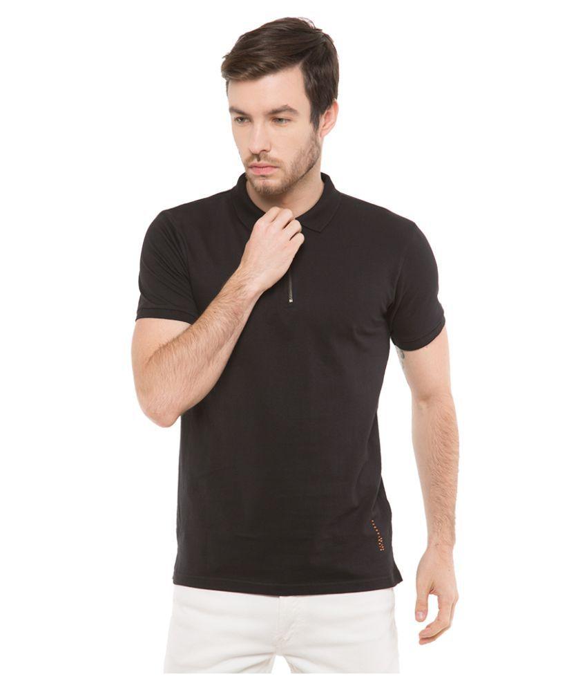Highlander Black Slim Fit Polo T Shirt