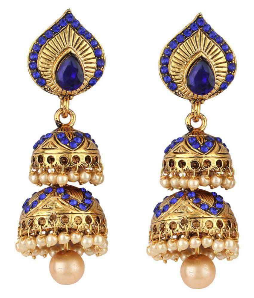 Jewels Guru Exclusive Blue Earrings