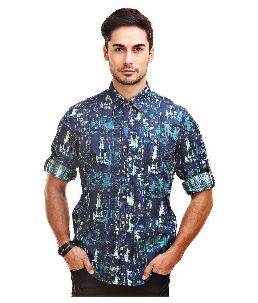 Chokore Navy Casuals Slim Fit Shirt