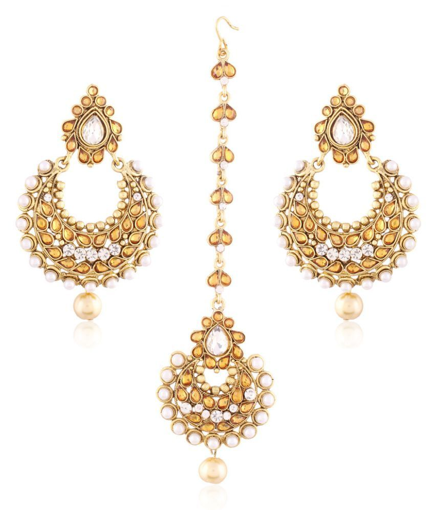 I Jewels Traditional Gold Plated Earring Set with Maang Tikka ...