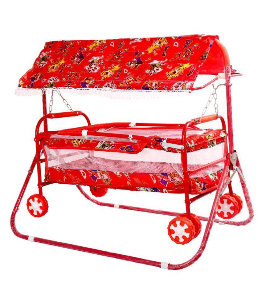 Janda Six Wheel Cotted Jhula Cum Pram With Hood