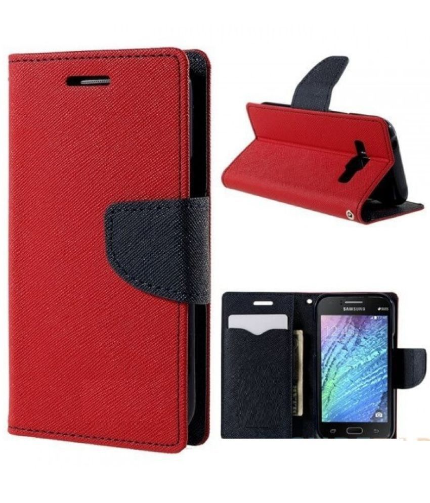Samsung Galaxy On7 Flip Cover by Trap - Red
