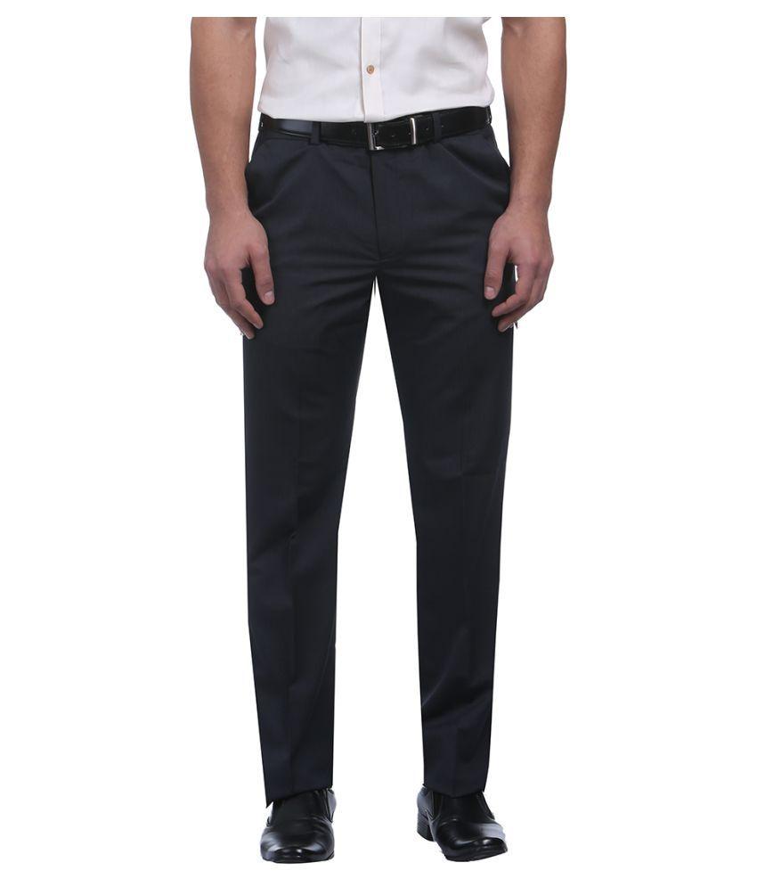 Park Avenue Blue Slim Flat Trousers