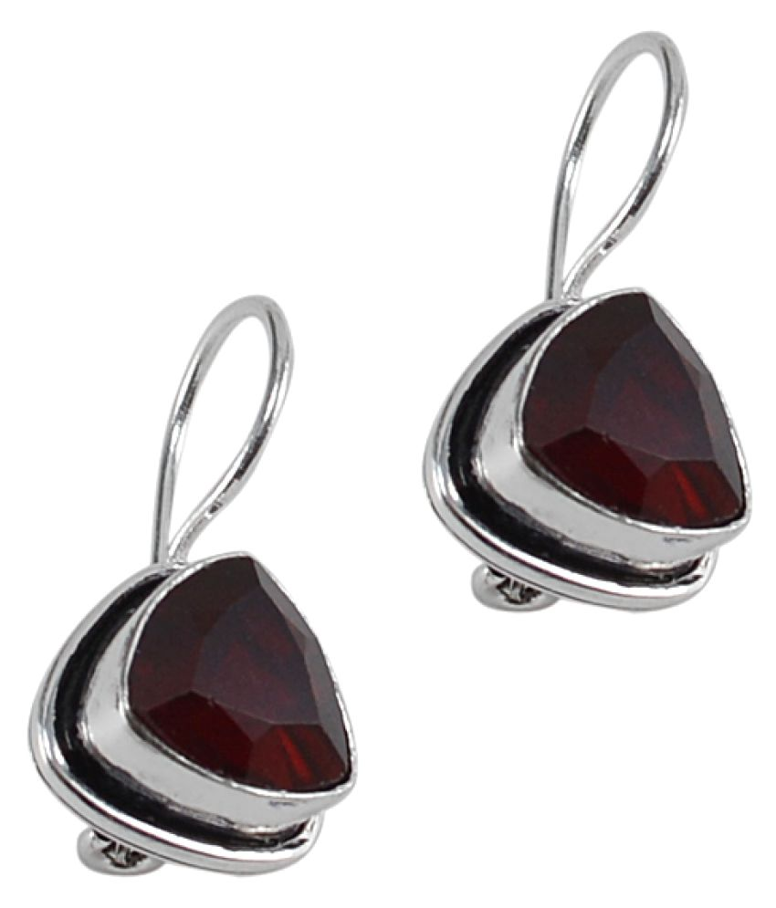 Silvesto India Garnet Quartz Gemstone 925 Silver Plated Earring PG-25403