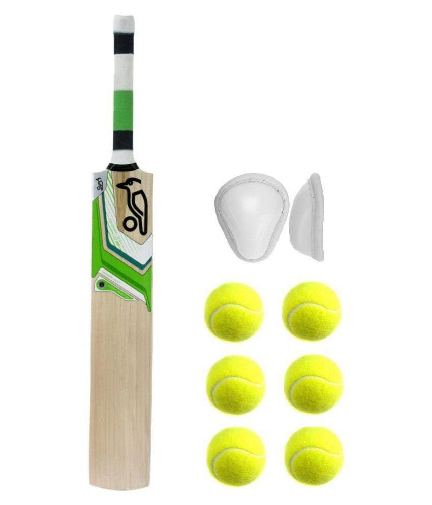Kookaburra (Full Size) Tennis KW Combo Kashmir Willow Cricket Bat with 6  Tennis Ball & Abdominal Guard