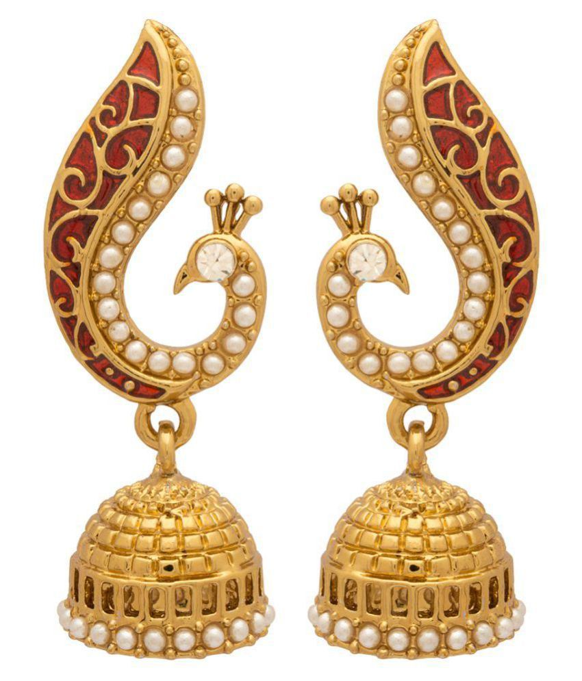 Voylla Peacock Inspired Pair Of Jhumki Earrings With Red Enamel