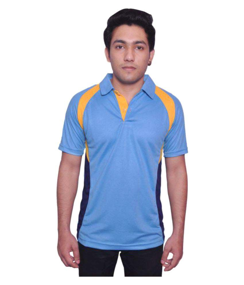 Dyed Colours Blue Polyester T-Shirt