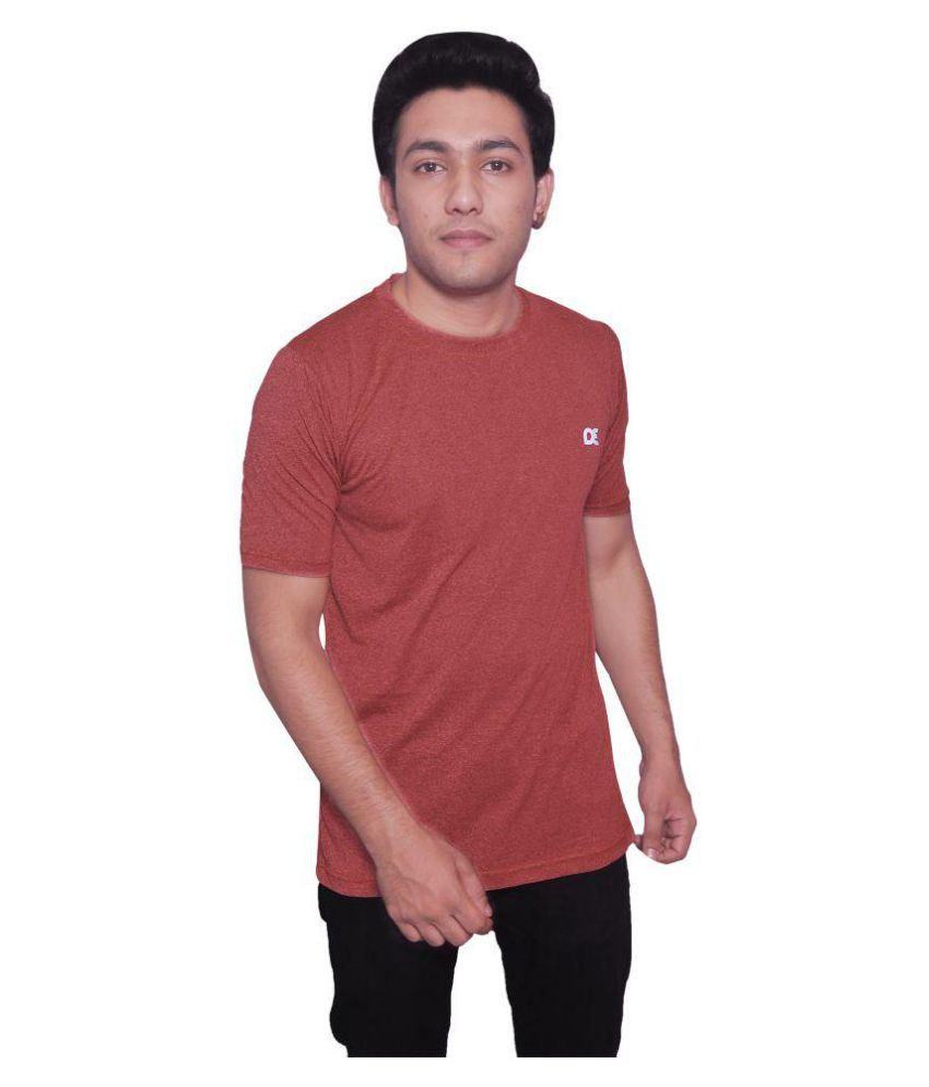 Dyed Colours Brown Polyester T Shirt