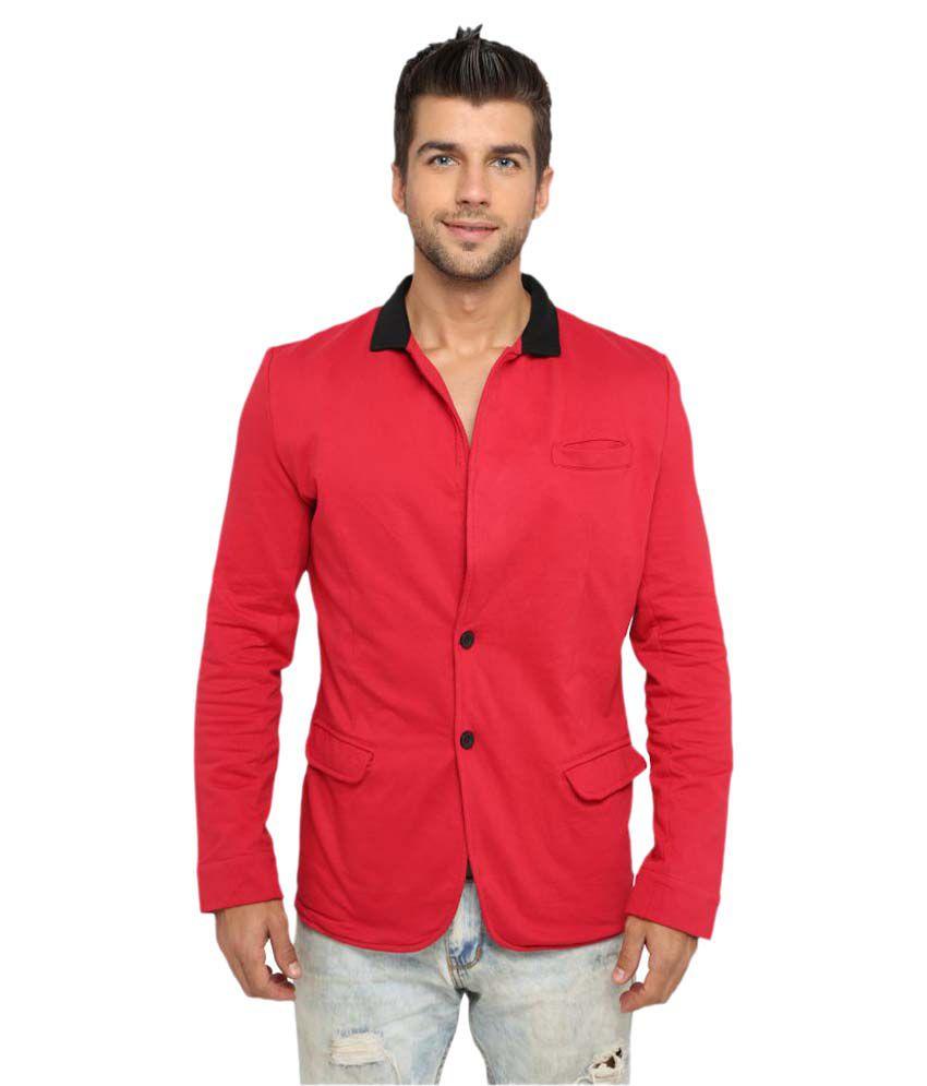 LUCfashion Red Plain Party Blazers