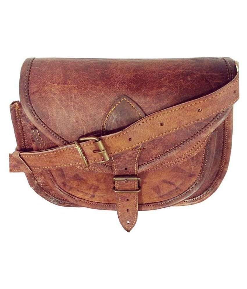 Crafat Brown Pure Leather Sling Bag - Buy Crafat Brown Pure ...