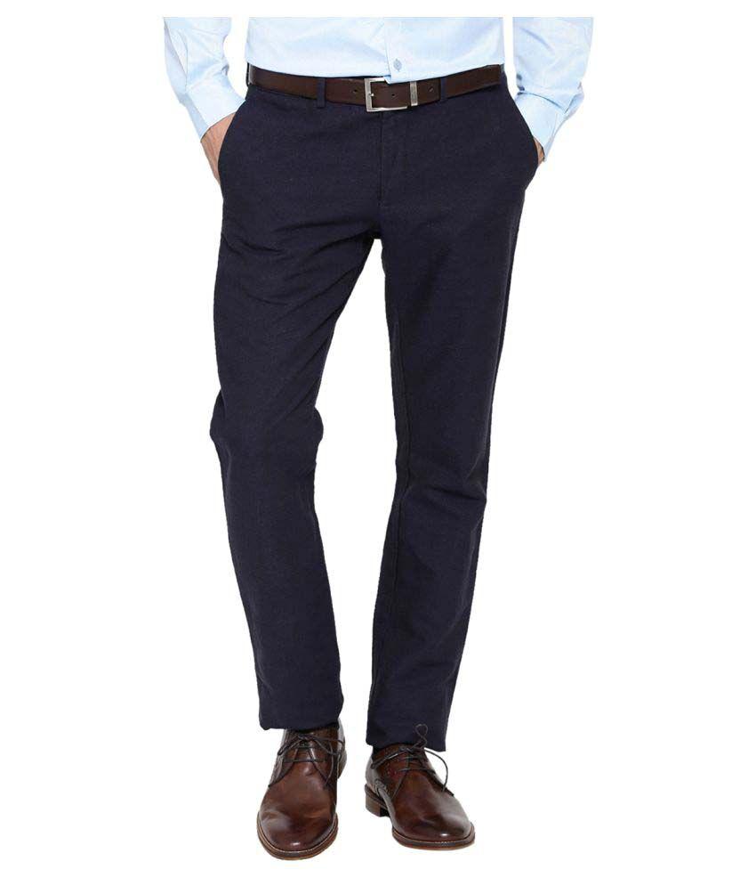 Blackberrys Navy Blue Skinny Flat Trousers