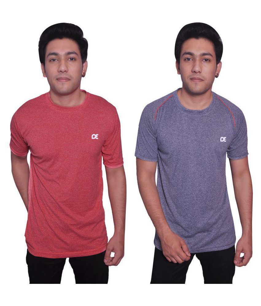 Dyed Colours Multi Polyester T-Shirt Pack of 2