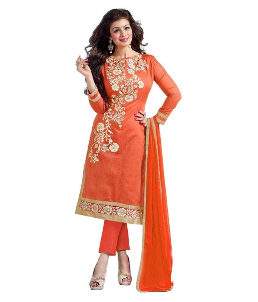 Laxmipathi Suit N Sarees Orange Chanderi Dress Material