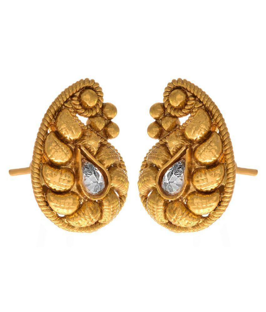62cef1b1d ... JFL - Traditional Ethnic Kaerie One Gram Gold Plated Diamond Designer  Stud Earring with American Diamond ...