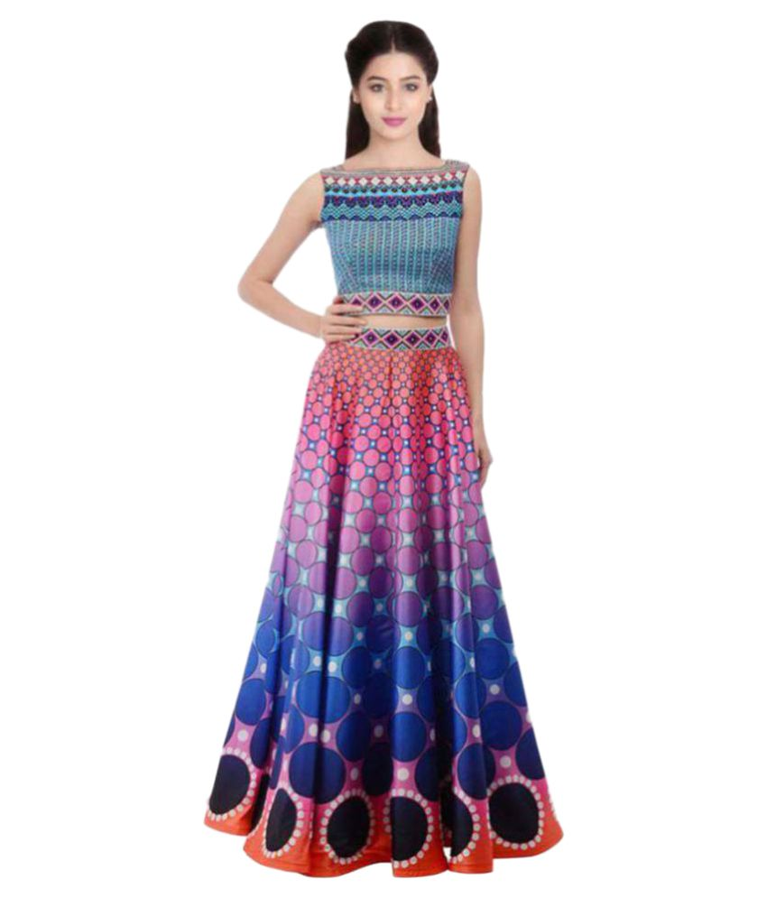 Kmozi Multicoloured Art Silk Circular Semi Stitched Lehenga  available at snapdeal for Rs.2499