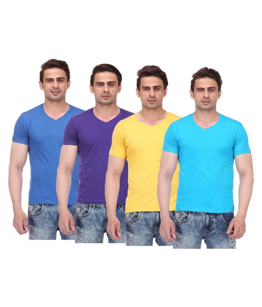 TeesTadka Multi V-Neck T-Shirt Pack of 4