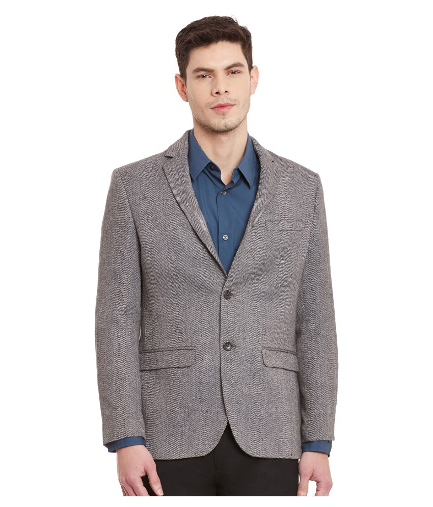 Envoy Grey Solid Casual Blazers