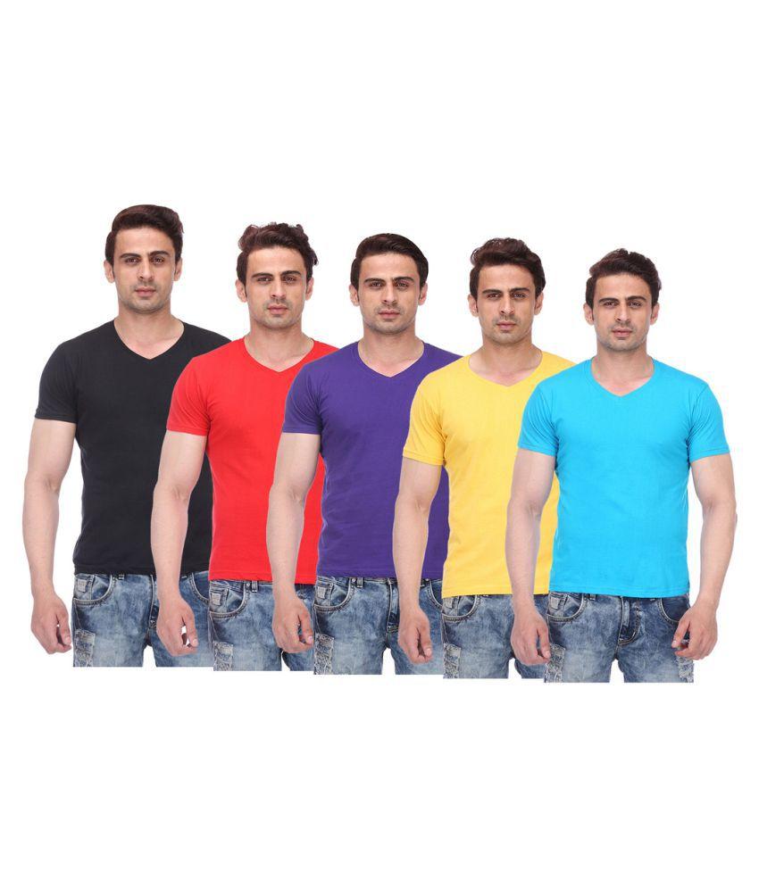 TeesTadka Multi V-Neck T-Shirt Pack of 5
