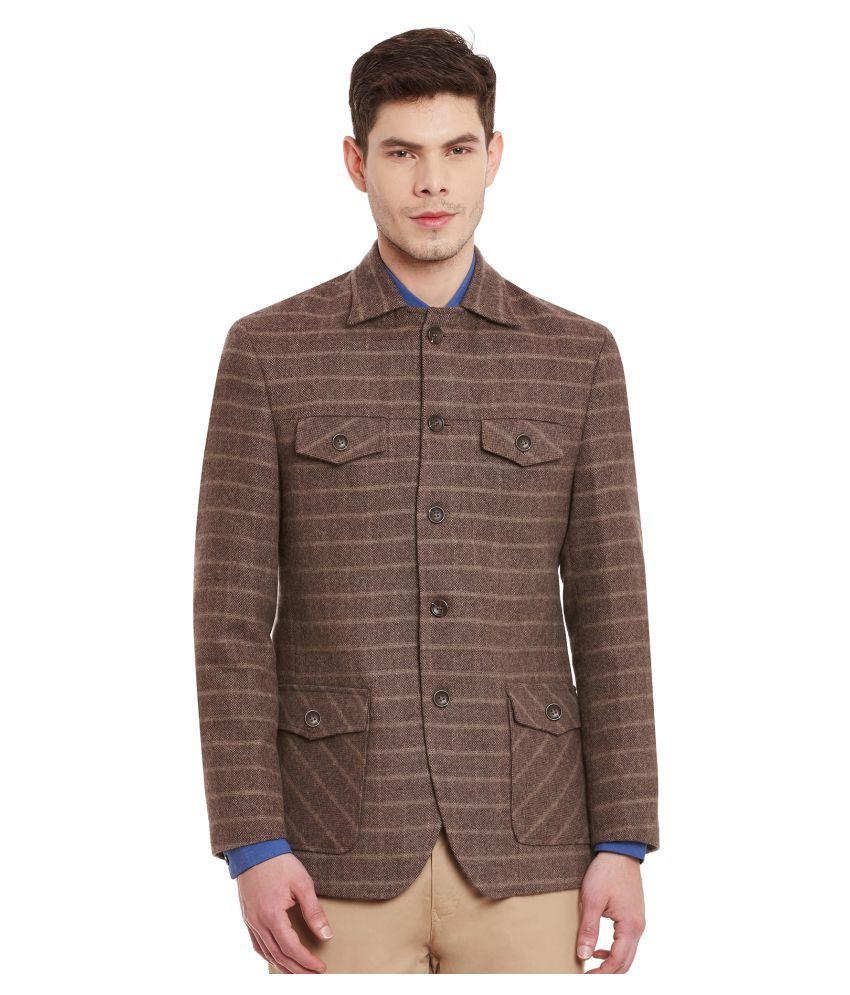 Envoy Brown Striped Casual Blazers