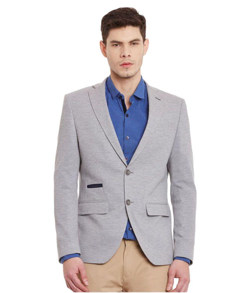 Envoy Grey Solid Casual Blazers
