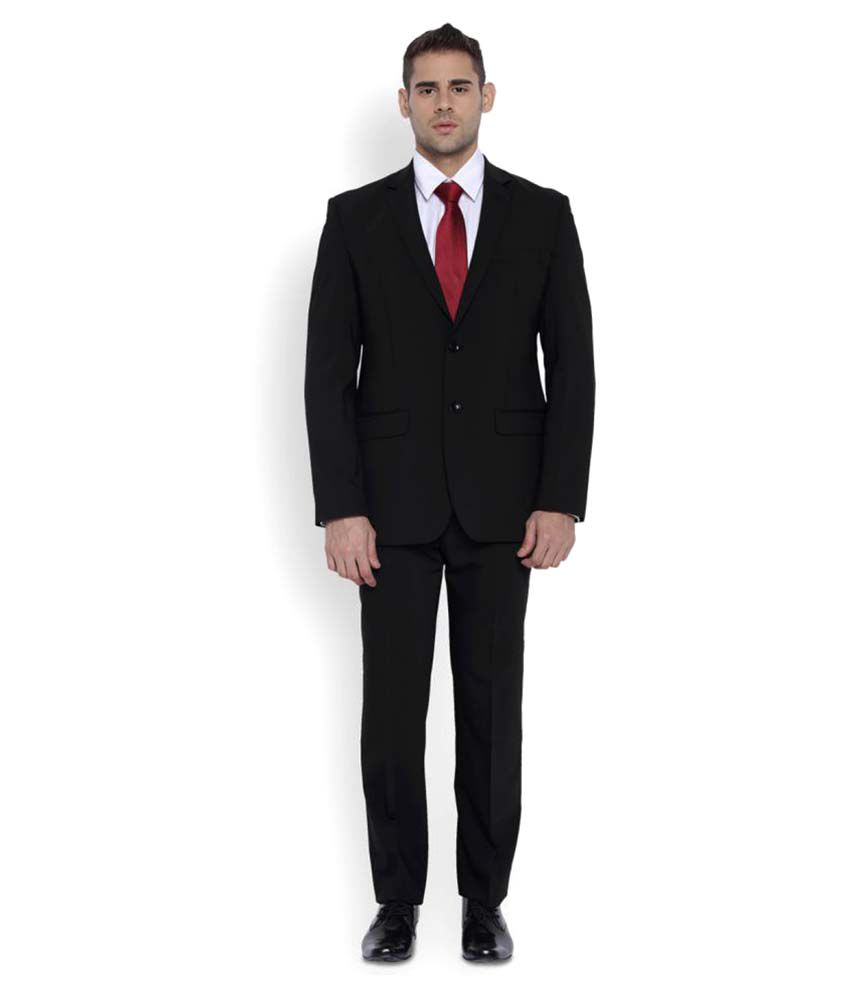 Park Avenue Black Plain Formal Suit