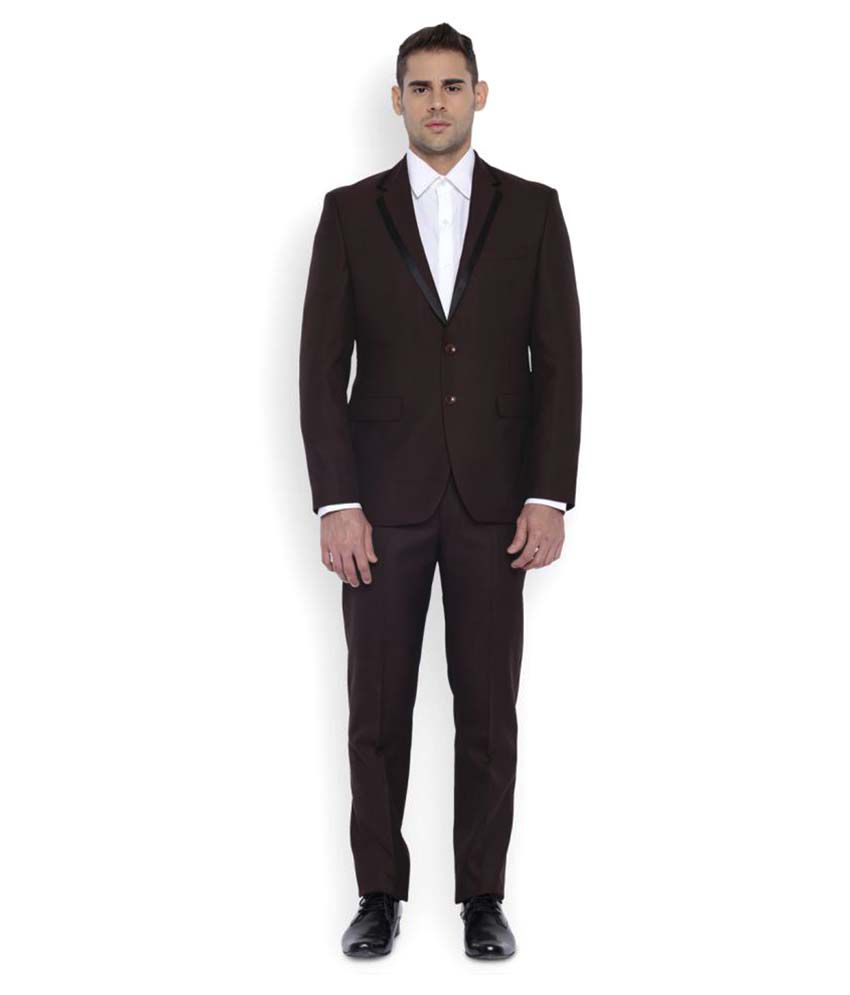 Park Avenue Brown Plain Formal Suit