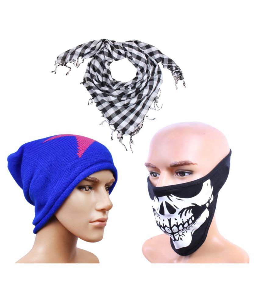 Sushito Multi Wool Caps with Headwrap and Face Mask