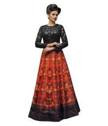 Fabkaz Multicoloured Art Silk Circular Semi Stitched Lehenga