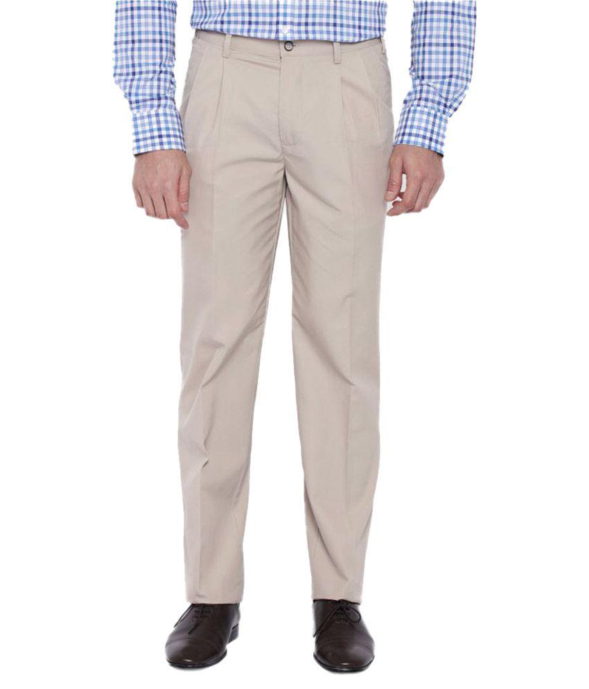 Park Avenue Beige Slim Pleated Trousers