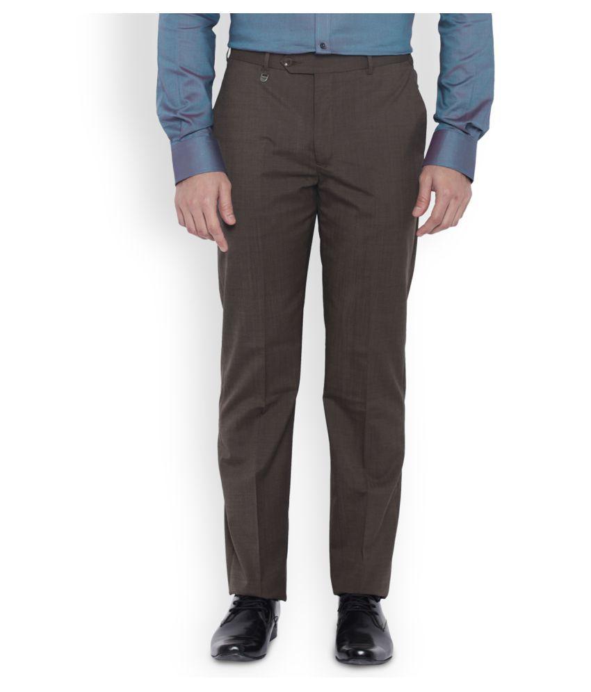 Park Avenue Brown Slim Flat Trousers